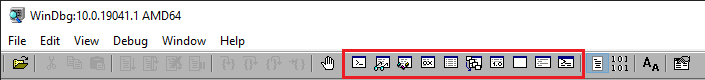 WinDbg toolbar